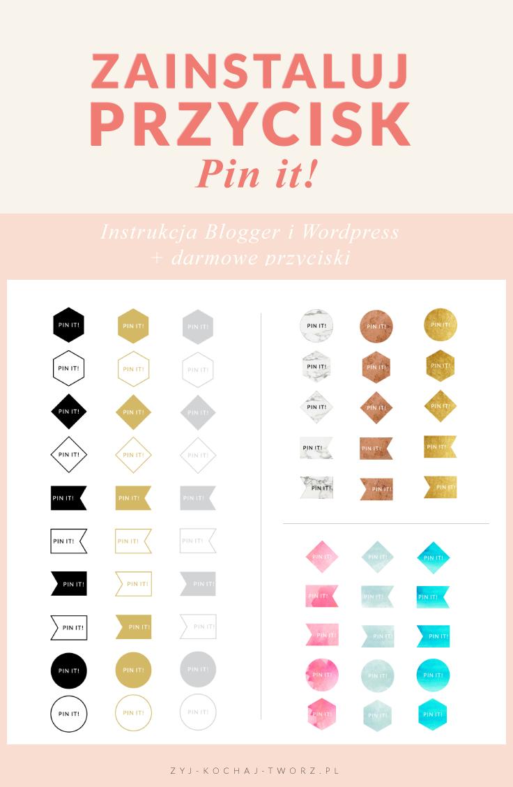 przycisk pin it blogger wordpress