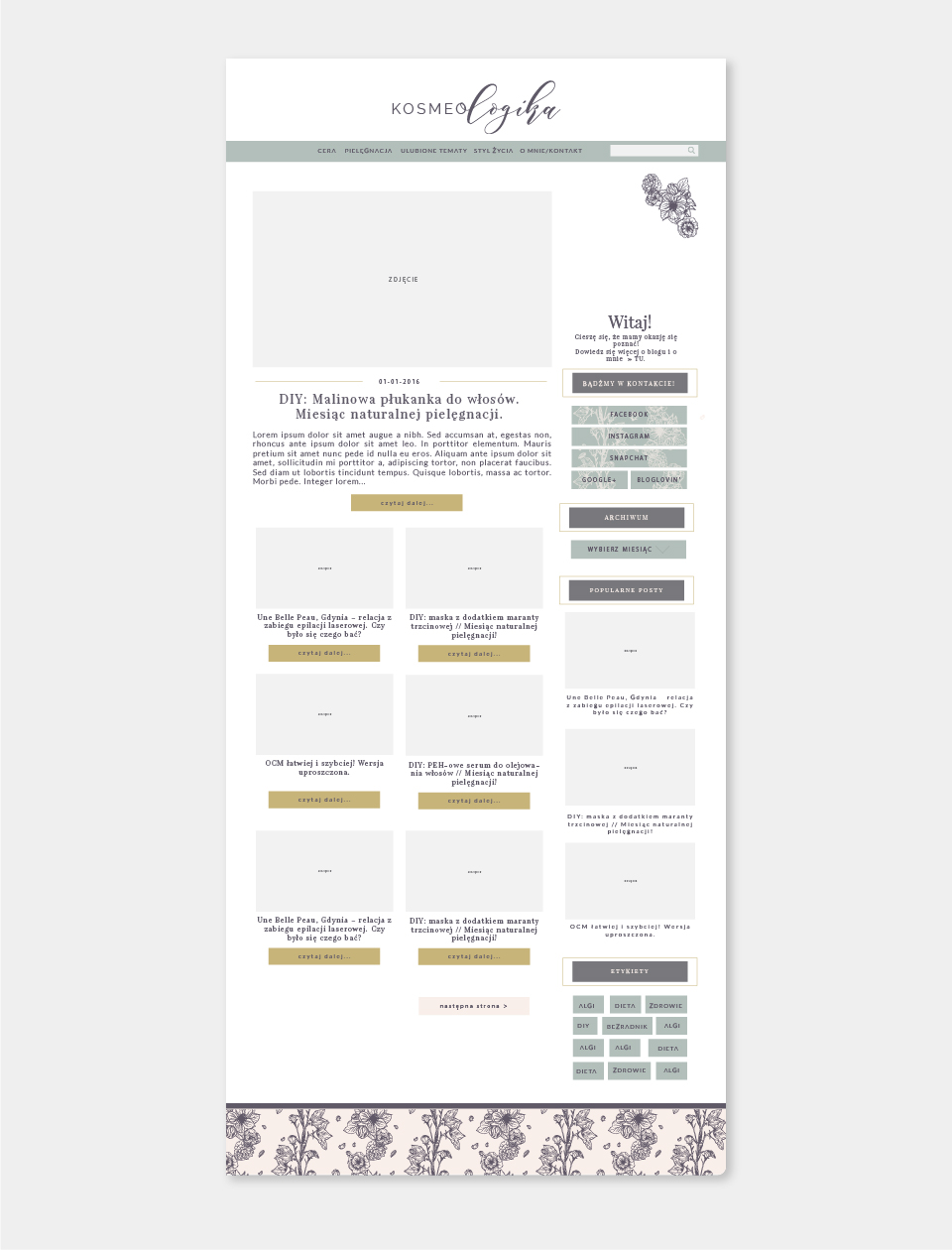 projekt bloga layout